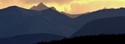 Park Scene Digital Art Prints - Panoramic Rocky Mountain View at Sunset Print by Mark Duffy