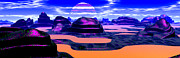 Art Product Framed Prints - Panoramic View Alien Planet Digitally Generated Framed Print by Raj Kamal