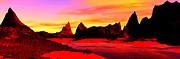 Red And Pink Sky Framed Prints - Panoramic View Black Rock Digitally Generated Framed Print by Raj Kamal