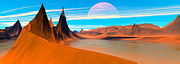 Art Product Framed Prints - Panoramic View Desert Spires Digitally Generated Framed Print by Raj Kamal