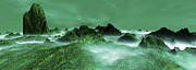 Art Product Digital Art Prints - Panoramic View Evergreen Digitally Generated Print by Raj Kamal