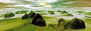 Art Product Prints - Panoramic View Flowing Mist Digitally Generated Print by Raj Kamal