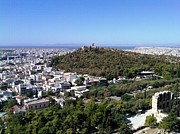 Neo-classical Posters - Panoramic view of Athens and the Mediterranean sea from Acropolis Greece Poster by John A Shiron