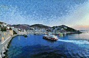 Panoramic Art - Panoramic view of Hydra town by George Atsametakis