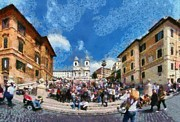 Dei Paintings - Panoramic view of Spanish steps at Piazza di Spagna by George Atsametakis