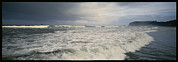 Rough Waters Prints - Panoramic View Of Stormy Surf Coming In Print by Kenneth Garrett