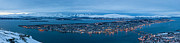 Snowy Evening Prints - Panoramic view of Tromso in Norway  Print by Ulrich Schade