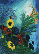 Sun Rays Painting Originals - Pansies and Poise by Jennifer Christenson
