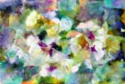 White Wine Mixed Media Prints - Pansies Print by Don  Wright