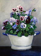 Blue Acrylic Prints - Pansies by Enzie Shahmiri