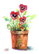 Clay Paintings - Pansies In A Clay Pot by Arline Wagner