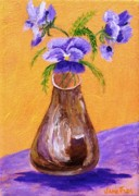 Golds Posters - Pansies in Brown Vase Poster by Jamie Frier
