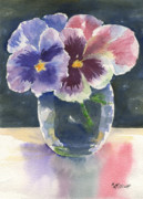 Glass Reflections Originals - Pansies by Marsha Elliott