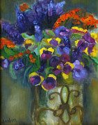 Susan Hanlon Framed Prints - Pansies Framed Print by Susan Hanlon