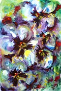 Johnny Jump Up Pansy Painting Posters - Pansies Poster by Zaira Dzhaubaeva