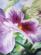 Green Oil Paintings - Pansy by Barbara Eberhart