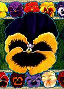 Anne Nye Acrylic Prints - Pansy Faces I Acrylic Print by Anne Nye