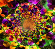 Purple Pansy Prints - Pansy Kaleidoscope  Print by Cathie Tyler
