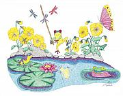 Dragonflies Drawings - Pansy Parade by Judy Cheryl Newcomb