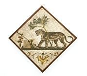 Tiled Framed Prints - Panther And Wine Symbols, Roman Mosaic Framed Print by Sheila Terry