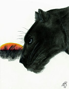 Panther Drawings - Panther at Dusk by Tiphanie Erickson