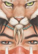 Native American Drawings - Panther Warrior by Amy S Turner