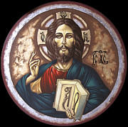 Byzantine Icon Mixed Media Posters - Pantocrator Poster by Iosif Ioan Chezan