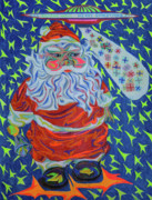 Happiness Drawings Originals - Papa Noel Des Etoilles by Robert  SORENSEN