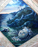 Writer Painting Originals - Papadiamantis The Seals Dirge  by Yvonne Ayoub