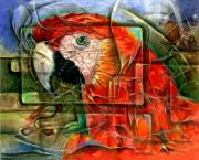 Macaw Art Paintings - Papagayo Red Macaw by Naza Naza