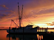 Fishing Boat Sunset Prints - Papas Dream Gone Bye Print by Karen Wiles