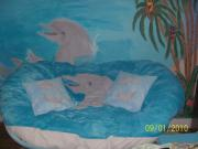 With Tapestries - Textiles Originals - Papasan Dolphin Couch by Sheree Smith