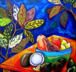 Foliage Paintings - Papaya Morning by Patti Schermerhorn
