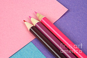 Colored Paper Prints - Paper And Pencils Print by Photo Researchers, Inc.