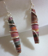 Paper Jewelry - Paper and Silver 10 Earrings by Janet  Telander