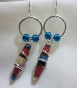 Circle Jewelry - Paper and Silver Dangle Earrings by Janet  Telander
