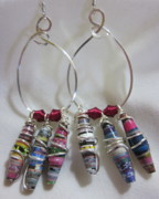 Abstract Jewelry - Paper and Wire Hoop Earrings by Janet  Telander