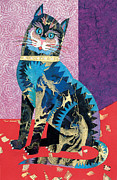 Abstracted Animal Paintings - Paper Cat by Bob Coonts