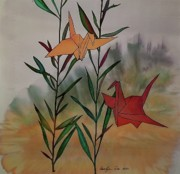Animals Tapestries - Textiles Prints - Paper Cranes 1 Print by Carolyn Doe