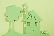 Home Ownership Prints - Paper Cut Out Of House And Tree Print by Duel