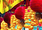 Southeast Asia Paintings - Paper lanterns in Singapore by Chris Montecalvo
