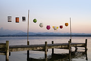 Paper Lantern Posters - Paper Lanterns Strung Up On Wooden Pier Poster by Henglein and Steets