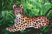 Cheetah Photos - Paper Mache Leopard by Arline Wagner