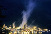 Howe Prints - Paper Mill At Night, Canada Print by Alan Sirulnikoff