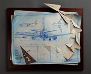 Planes Sculptures - Paper Planes by Kevin Box
