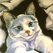 Siamese Cat Print Prints - Paper Tiger Detail Print by Susan A Becker