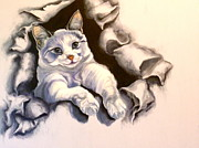 Siamese Cat Print Prints - Paper Tiger Print by Susan A Becker