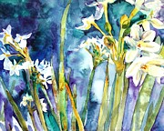 Phlox Painting Framed Prints - Paperwhites Teal Framed Print by Miriam  Schulman