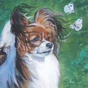Papillon Dog Paintings - Papillon and butterflies by L A Shepard