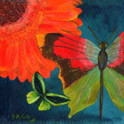 Gerbera Daisy Paintings - Papillon Bleu-Blue Butterfly by Debbie McCulley